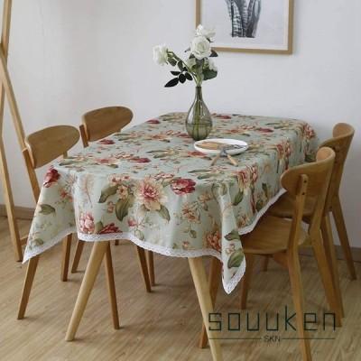 テーブルクロス 北欧 綿麻 長方形 80×150cm テーブルカバー 花柄 レース付き 田園風 食卓カバー 防塵 耐熱 雰囲気