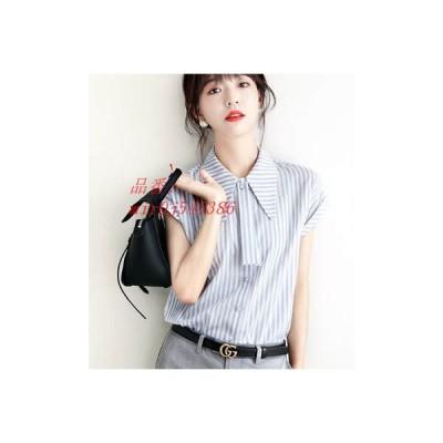 半袖シャツ 新作 夏物 カジュアル 大きいサイズ ゆったり ストライプ オシャレ 切り替え 折り襟 シングル 通勤 着痩せ レディース 薄手 ファッション