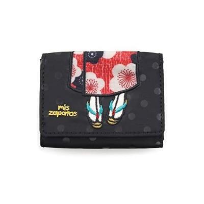 [ミスサパト] 財布 三つ折り 着物 (ブラック 8×10×2cm)