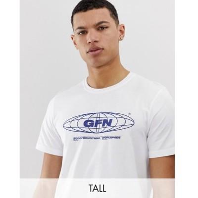 グッドフォーナッシング メンズ Tシャツ トップス Good For Nothing oversized t-shirt in white with globe logo
