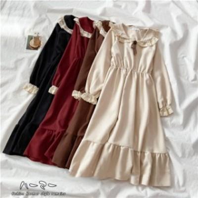秋冬 大きいサイズ レディース 襟付き フレアワンピース 森ガール  アイドル お嬢様 オーバーサイズ ファッション ビッグサイズ  ロング