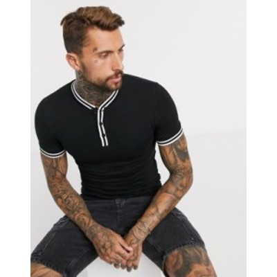 エイソス メンズ シャツ トップス ASOS DESIGN grandad t-shirt with tipping in black Black