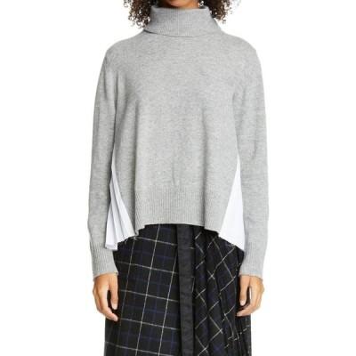 サカイ SACAI レディース ニット・セーター タートルネック トップス Contrast Pleated Back Wool Turtleneck Sweater Light Gray