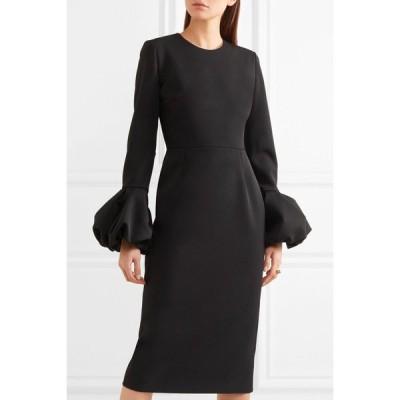 ワンピース 海外セレクション Roksanda PINK Satin Trimmed Crepe Midi  Dress Black UK 8 10 US 4 6