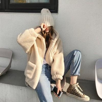 レディース ボアブルゾン ボアジャケット フード アウター 羽織り ゆったりサイズ