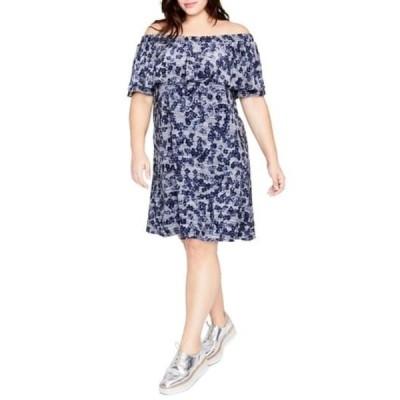 ライチェルレイチェルロイ レディース ワンピース トップス Off The Shoulder Dress (Plus Size) NAVY COMBO