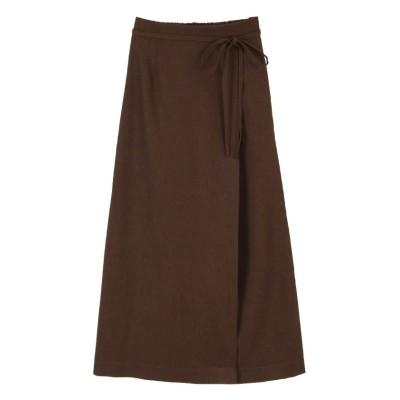 (titivate/ティティベイト)リネンライクラップAラインリボン付スカート/レディース ブラウン