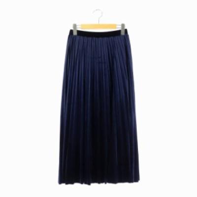 【中古】グレースクラス GRACE Class プリーツベロアスカート ロング 36 紺 ネイビー /ES ■OS レディース