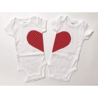 [ミシアラグジュアリー] ハート ロンパース 双子 ベビー用ふたりでハート型になるロンパース 2枚セット ホワイト 新生児