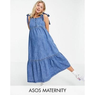 エイソス ASOS Maternity レディース ワンピース デニム マタニティウェア Aライン ASOS DESIGN Maternity soft denim tiered midi dress in midwash ブルー