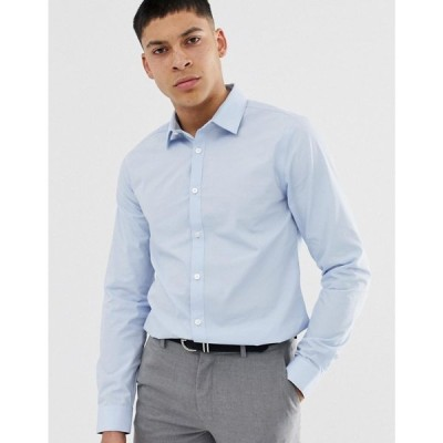 ニュールック New Look メンズ シャツ トップス poplin shirt in regular fit in light blue Light blue