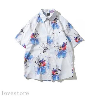 半袖 シャツ メンズシャツ 春 夏 秋 ビジネス 男性用シャツ ゆったり お肌に優しい 速乾吸汗 通気性 韓国風 派手 折りえり 前開き