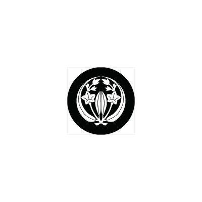 家紋シール 抱き竜胆紋 直径15cm 丸型 白紋 KS15M-2894W