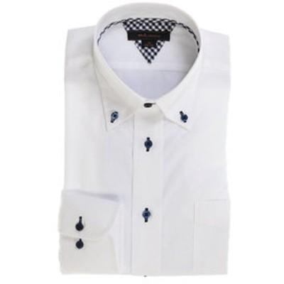 形態安定レギュラーフィット ボタンダウン長袖ビジネスドレスシャツ