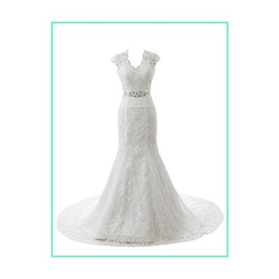 Ubridal Real Pictures Embroidery Lace Mermaid Court Wedding Dresses Bridal Gowns White 18W並行輸入品