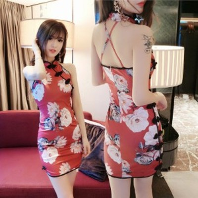 即納 チャイナドレス ショート丈  セクシー レディース ワンピース  コスプレ コスチューム 衣装  パーティードレス チャイナ服 赤