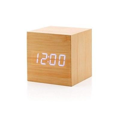 目覚まし時計 木時計 デジタル 木製 木目調 LED AeeYui 多機能 音声感知 温度計 アラームクロック USB電源 大音量 置き時計