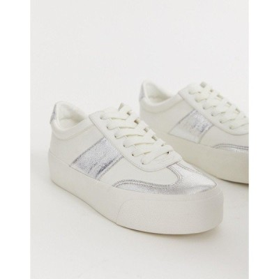 エイソス レディース スニーカー シューズ ASOS DESIGN Detect flatform sneakers in white and silver Off white/silver