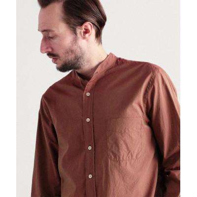 【トゥモローランド】 コットンシャンブレー バンドカラーシャツ ALBINI PROVENCE NAVY メンズ 37ダークレッド S TOMORROWLAND