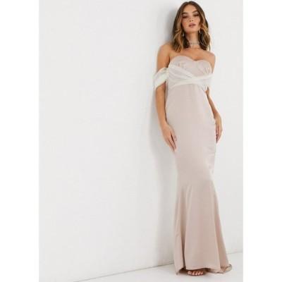 ミスガイデッド Missguided レディース パーティードレス ワンピース・ドレス organza sleeve bridesmaid dress in champagne シャンパン