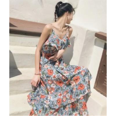 キャミソールワンピース シフォンワ ンピース ロングワンピース   花柄 ボヘミアン 森ガール風  サンドレス