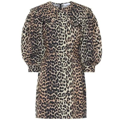 ガニー Ganni レディース ワンピース ワンピース・ドレス Leopard-print cotton-poplin dress Leopard