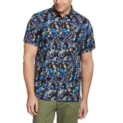 ペリーエリス レディース シャツ トップス Large Floral Print Poplin Short-Sleeve Woven Shirt