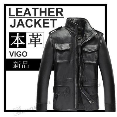 レザージャケットメンズ レザーコート 本革 コート バイクジャケット多ポケットライダースジャケット 格好良い ビジネスコート 高級牛革 大きいサイズ