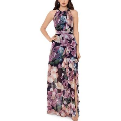 ベッツィアンドアダム Betsy & Adam レディース パーティードレス ワンピース・ドレス Floral-Print Halter Gown Wine/Rose Floral