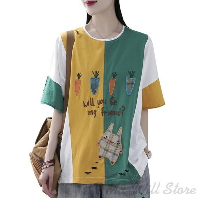 Tシャツ レディース 五分袖 ゆったり ふんわり 薄手 丸首 フリーサイズ カットソー トップス オシャレ