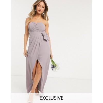 ティーエフエヌシー ミディドレス レディース TFNC bridesmaid exclusive bandeau wrap midaxi dress with pleated detail in grey エイソス ASOS グレー 灰色