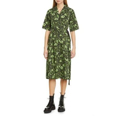 マルニ ワンピース トップス レディース Cheetah Camo Print Stretch Cotton Shirtdress Dark Olive