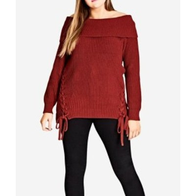 City Chic シティシック ファッション トップス City Chic NEW Red Womens Size 20 Plus Off-Shoulder Knitted Sweater