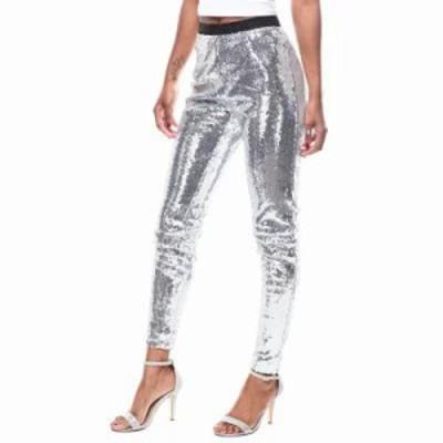 ファッションラボ その他ボトムス・パンツ hi-waisted elastic waistband sequin pant Silver