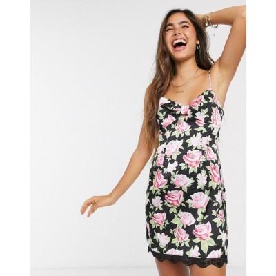 スカイラーローズ Skylar Rose レディース ワンピース スリップドレス ミニ丈 ワンピース・ドレス mini slip dress with tie front in vintage rose floral