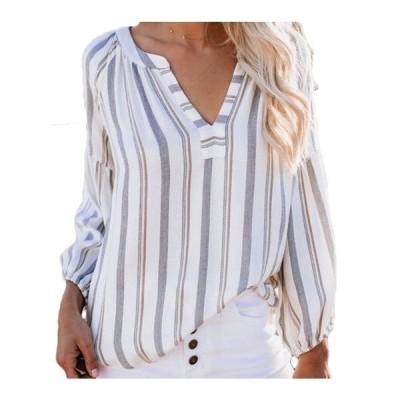 レディース 衣類 トップス Women's V Neck Loose Striped Long Sleeve Boho Work Casual Holiday Blouse ブラウス&シャツ