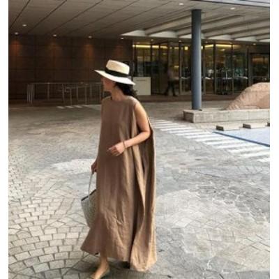韓国 ファッション レディース ワンピース リネン ロング マキシ丈 ノースリーブ ルーズ リゾート ゆったり 大人可愛い カジュアル 夏
