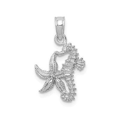 14k White Gold Solid Seahorse Starfish Pendant Charm Necklace Sea Life Fine Jewelry For Women Gifts For Her【並行輸入品】