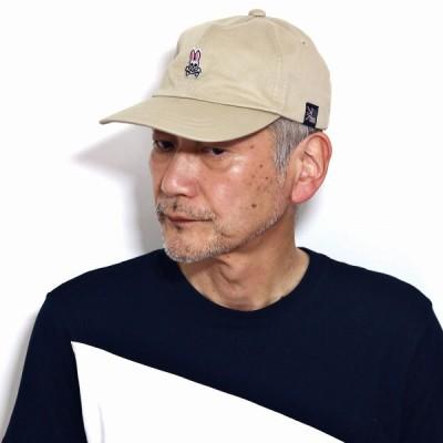 サイコバニー メンズ キャップ レディース キャップ 1WASH チノクロス Psycho Bunny 帽子 メンズ ラビット キャップ 綿100% キャップ メンズ ベージュ