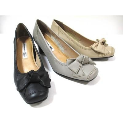Yukiko Kimijima 9330 レディース 日本製 革パンプス 外反母趾靴 リボン 通勤靴 仕事靴 ソフト革