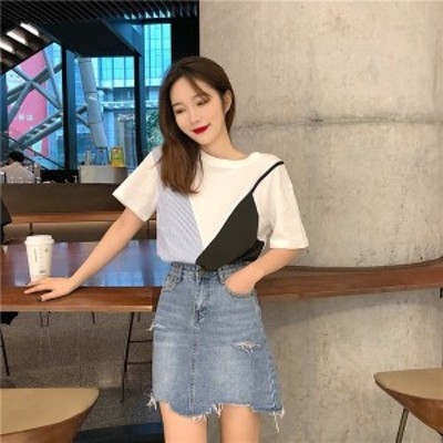 tシャツ レディース 韓国 ファッション 夏服 レディース フェイク レイヤード ビスチェ tシャツ トップス カラーブロック 異素材 半袖