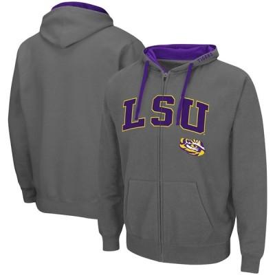 """メンズ パーカー """"LSU Tigers"""" Colosseum Arch - Logo 2.0 Full-Zip Hoodie - Charcoal"""