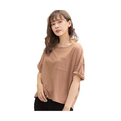 [アドティエ] ポケット付きTシャツ ゆったりサイズ 綿100% クルーネック ラウンドヘム カラバリ豊富 (ブラウン Free Size)
