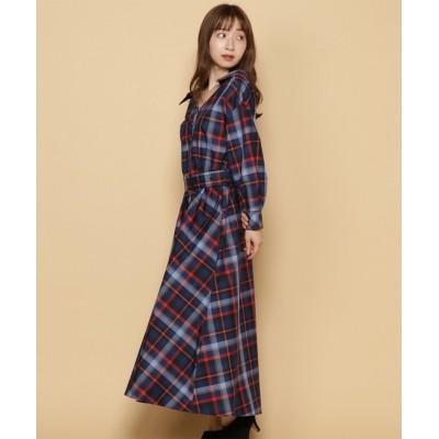 【アンドクチュール】 バックリボンチェックシャツワンピース レディース ネイビー M And Couture