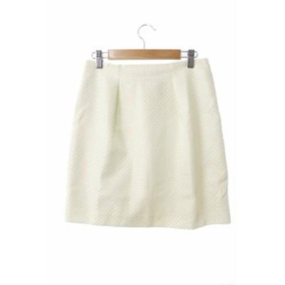 【中古】アンタイトル UNTITLED スカート ひざ丈 台形 網目 2 白 ホワイト /MO12 レディース