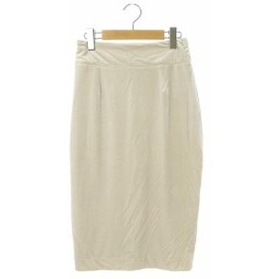 【中古】ロペ ROPE mademoiselle ベロアタイトスカート ひざ丈 36 ベージュ /YS ■OS レディース