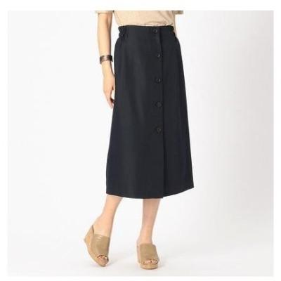 コムサイズム COMME CA ISM 《リネンライク》ウエストゴム フロントボタン スカート セミタイト (ネイビー)
