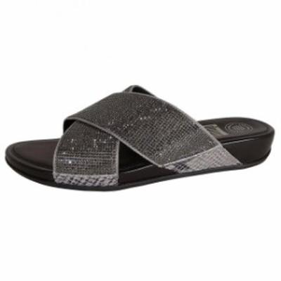 FitFlop フィットフロップ ファッション サンダル FitFlop Womens AIX Crystal Cross Slide Sandals