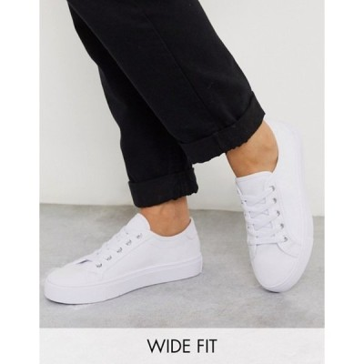 エイソス レディース スニーカー シューズ ASOS DESIGN Wide Fit Dizzy lace up sneakers in white
