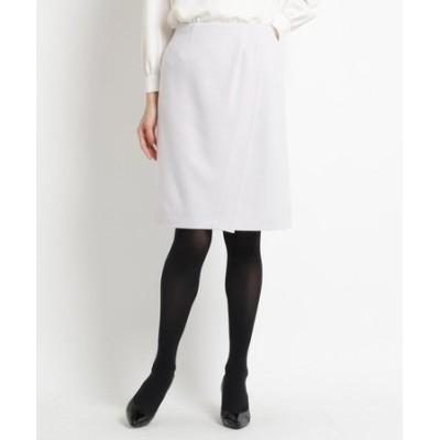ラップ風ウール混スカート